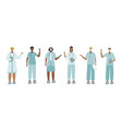medical doctor or nurse pointing finger characters vector image