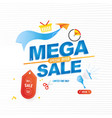 mega sale 50 banner template design with icons for vector image vector image