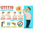 otitis symptoms and preventions pain in ear poster vector image vector image