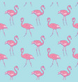 pattern with a rose flamingo on a blue background vector image vector image