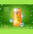 pear juice drink aluminium can with ice cubes vector image vector image