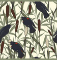 seamless pattern with reeds and birds hand drawing vector image vector image