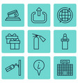 set of 9 travel icons includes present video