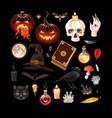 set pumpkins and magic supplies vector image