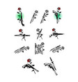 set tattoo pistols knives and roses cold and vector image vector image
