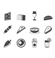 Silhouette food and drink icons 2 vector image vector image