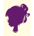 silhouette of a female head with hair beam vector image