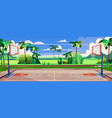 street basketball court with green palms vector image