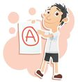 student with A grade vector image