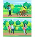 summer park activities woman riding bike vector image vector image