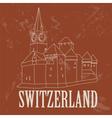 Switzerland landmarks Retro styled image vector image