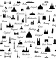 travel world landmarks tile pattern travel sight vector image vector image