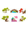 trees and bridge set fantasy or fairytale nature vector image vector image