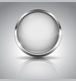 white button with chrome frame round glass shiny vector image vector image