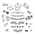 Wedding hand made graphic set flowers ribbons and vector image