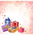 Gifts for Valentines Day on a pink background with vector image
