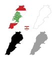Lebanon country black silhouette and with flag on vector image