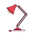 colorful graphic of modern desk lamp with dark red vector image