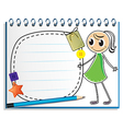 A notebook with a sketch of a girl with a green vector image vector image