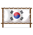 A wooden frame with the flag of Korea vector image vector image