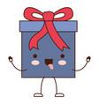 animated kawaii gift box icon with decorative vector image