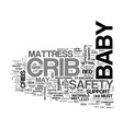 baby cribs safety checklist text word cloud vector image vector image