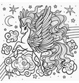 beautiful unicorn for coloring vector image
