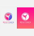 beauty kick logo design girl in kicking vector image vector image