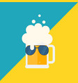 beer mug with foam and sunglasses vector image vector image