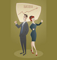business man and woman proud of their success vector image vector image