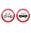 Car and bike icons road signs vector image