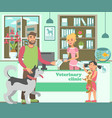 cartoon bearded man with husky and girl with cat vector image