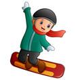 cartoon boy with snowboard vector image vector image