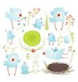 cartoon fun and cute babirds collection vector image vector image