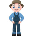 cartoon funny farmer posing vector image vector image