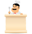 chef cook holding parchment menu vector image vector image