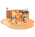 children playing music chairs in classroom vector image vector image