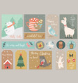christmas set hand drawn animals and elements vector image vector image