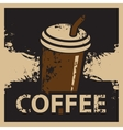 coffee cup in retro style vector image vector image