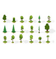 collection isometric trees with shadow various vector image