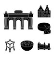country belgium black icons in set collection for vector image vector image