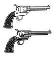 cowboy revolver in engraving style design element vector image