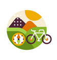 creative landscape with bicycle and compass in vector image vector image