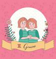 cute horoscope zodiac girl gemini vector image
