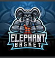elephant esport mascot logo vector image