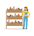 farmer woman caring for chickens poultry breeding vector image vector image