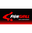 fish grill logo vector image vector image
