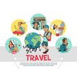 flat travel round concept vector image vector image