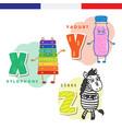 french alphabet xylophone yogurt zebra vector image vector image