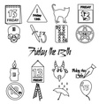 friday the 13 bad luck day outline icons set eps10 vector image